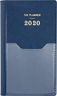 2020 Pocket Planner/Calendar - Weekly & Monthly Pocket Planner with 12 Month Tabs, Agenda Planner and Schedule Organizer with Pen Hold, Bonus Notes Pages and Inner Pocket, Navy Blue