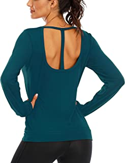 Fihapyli Women's Workout Tops Long Sleeve Backless Open Back Racerback Athletic Shirt for Women with Thumb Holes