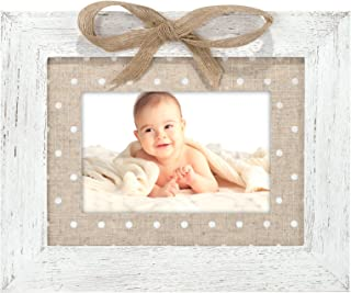 Malden International Designs Burlap Dots With Printed Burlap Mat and Bow, Wood Picture Frame, 4x6/6x8, White