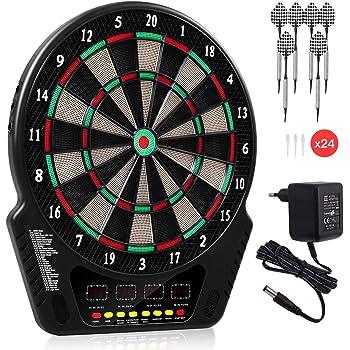 GOPLUS Elektronische Dartscheibe Dartboard Dartpfeile 27 Spiele 4 LED Bildschirme 16 Spieler