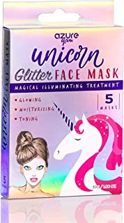 Unicorn Illuminating Holographic Glitter Face Mask - Reduces Fine Lines and Wrinkles   Deep Hydration   Restores Natural Skin Tone and Glow - 5 Pack