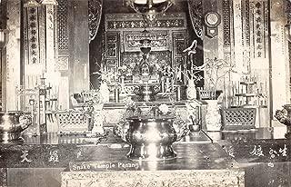 Penang Malaysia Snake Temple Interior Real Photo Antique Postcard J22786