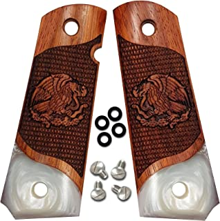 1911 Full Size Grips by Dan Eagle Exotic Solid Rosewood with Simulated Pearl Fits Government and Commander Eagle Design