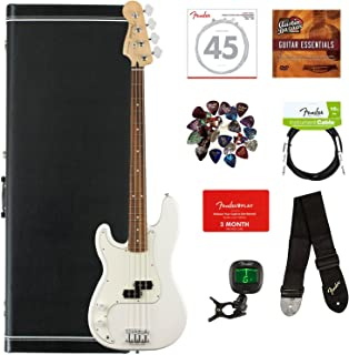 Fender Player Precision Bass, Pau Ferro, Left Handed - Polar White Bundle with Case, Cable, Tuner, Strap, Strings, Picks, Fender Play Online Lessons, and Austin Bazaar Instructional DVD