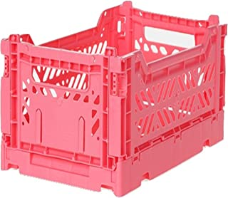AY-KASA Collapsible Storage Bin Container Basket Tote, Folding Basket Crate Container : Storage, Kitchen, Houseware Utility Basket Tote Crate Mini-Box (Dark Pink)