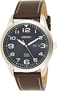 SEIKO Men's Solar Powered Watch, Analog Display and Leather Strap SNE475P1