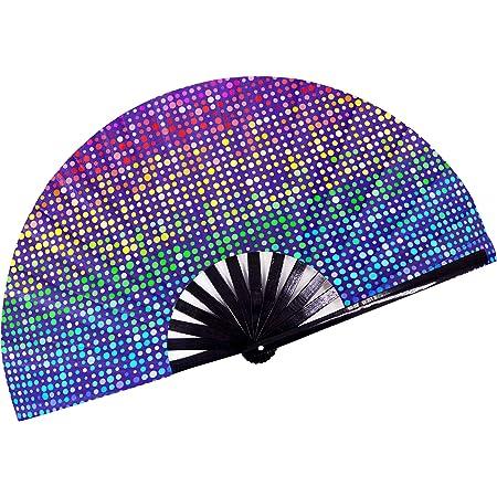Mad Catter Hand Fan UV Glow  Rave Fan Festival Fan Club Fan Art Hand Fan