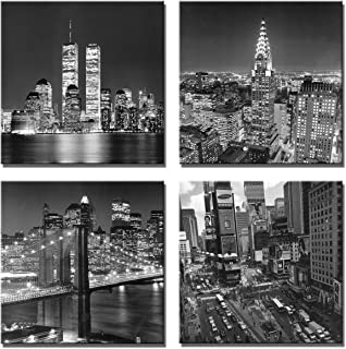 Yin Art New York City Canvas Print Black and White Brooklyn Bridge,Empire State Building Wall Art Modern Giclee Artwork 30x30cm