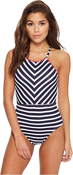 Breton Stripe High-Neck One-Piece Swimsuit