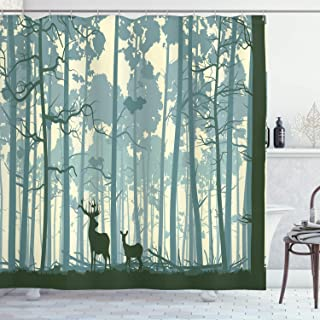 Ambesonne Deer Shower Curtain, Animal Silhouette in Foggy Forest Animals in Nature Themed Cartoon Dusk Artwork, Cloth Fabric Bathroom Decor Set with Hooks, 70