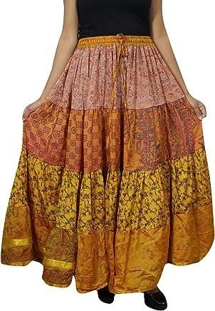 Womens Gypsy Long Skirt Yellow Boho Sari Swing Flare Tiered Maxi Skirts L