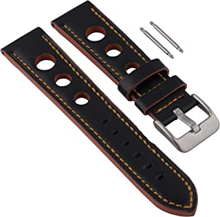 Gilden 20mm Rally Racing Orange and Black Leather Watch Strap RS01-1720