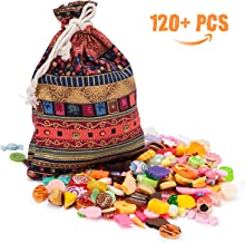 Joyjoz 120pcs Slime Charms Lucky Bag - Flat Back Resin Charms for Slime, Mixed Food, Candy Sweets, Cabochons Embellishment for DIY Craft Making, Scrapbooking Ornament with Handcrafted Lucky Bag
