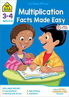 School Zone - Multiplication Facts Made Easy Workbook - 32 Pages, Ages 8 to 10, 3rd Grade, 4th Grade, Multiplication Tables, Factors, Common Core, and More (School Zone I Know It!® Workbook Series)