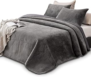 KASENTEX Plush Poly-Velvet Lavish Design Quilt Set with Brushed Microfiber - Luxurious Bedding Soft & Warm Coverlet - Machine Washable Coverlet (Pewter Grey, King + 2 Shams)