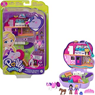 Polly Pocket Jumpin' Style Pony Compact with Horse Show Theme, Micro Polly Doll & Friend, 2 Horse Figures (1 with Saddle & Tail Hair), Fun Features & Surprise Reveals, Great Gift for Ages 4 & Up