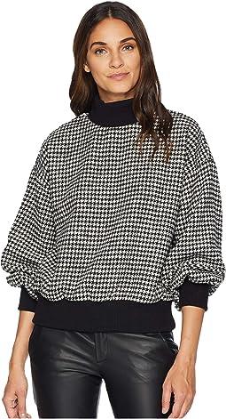 Houndstooth Mock Neck Sweatshirt