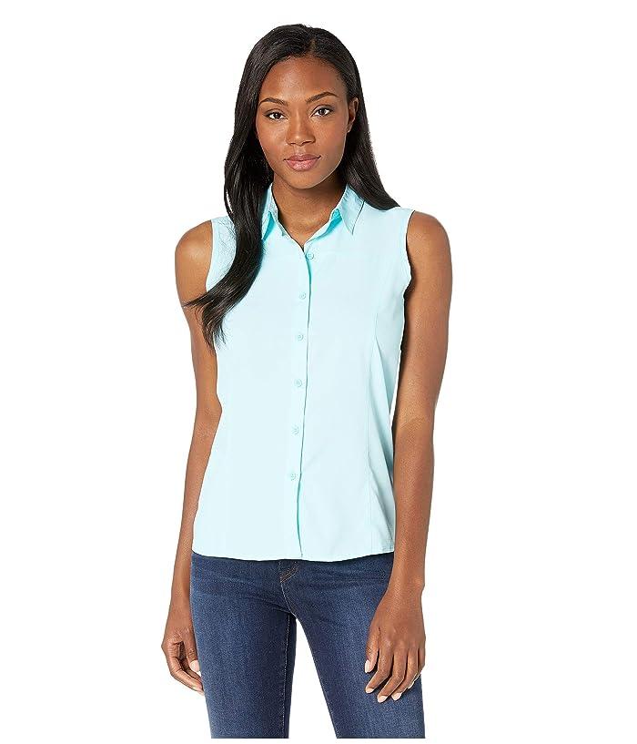 White Sierra Gobi Desert Sleeveless Shirt (Aqua) Women