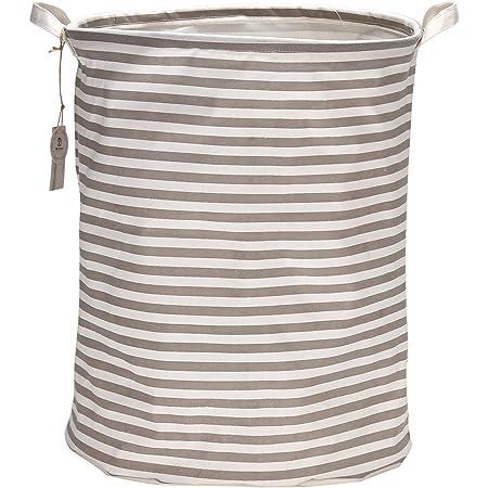 Sea Team 19,7 pollici di grandi dimensioni rivestimento impermeabile in tessuto di cotone ramie pieghevole cesto della biancheria secchio cesto cilindrico in tela di tela con elegante a strisce grigie