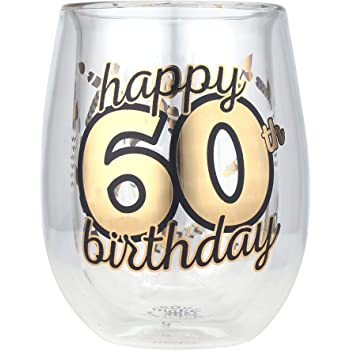 Multicolor 13oz, Red or White Wine Unique /& Fun Gift Ideas for Him or Her Top Shelf TS-8114AR Double Wall Stemless 40th Birthday Glass