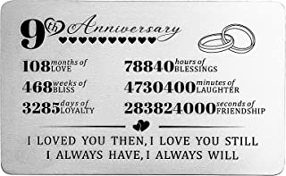 9th Anniversary Wallet Card for Husband Wife Boyfriend Girlfriend - 9 Years Wedding Anniversary Card for Him Men or Her Wo...
