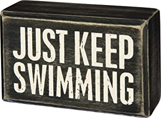 """Primitives by Kathy Classic Box Sign, 4"""" x 2.5"""", Just Keep Swimming"""