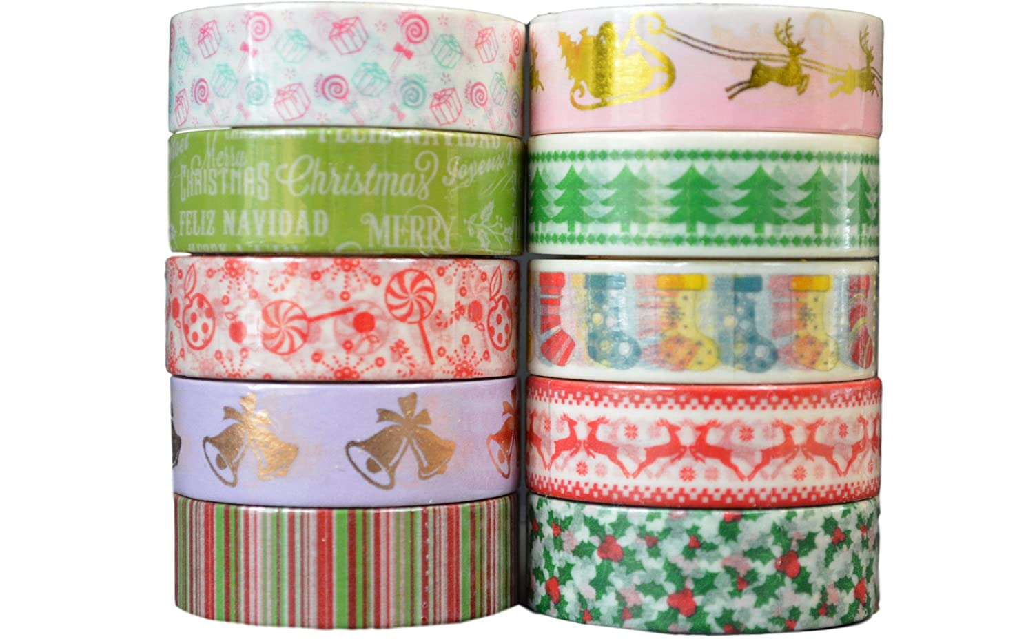 Crafty Rolls Decorative Washi Tape Set of 10 Rolls Assortment of Christmas Holiday Designs & Shapes for Scrapbooking Crafts & Gifts - Xmas