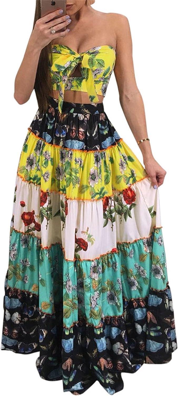 Fashion Cluster 2pcs Floral Women Suits Wrapped Crop Top + Long Skirt Set Party Club Maxi Dress