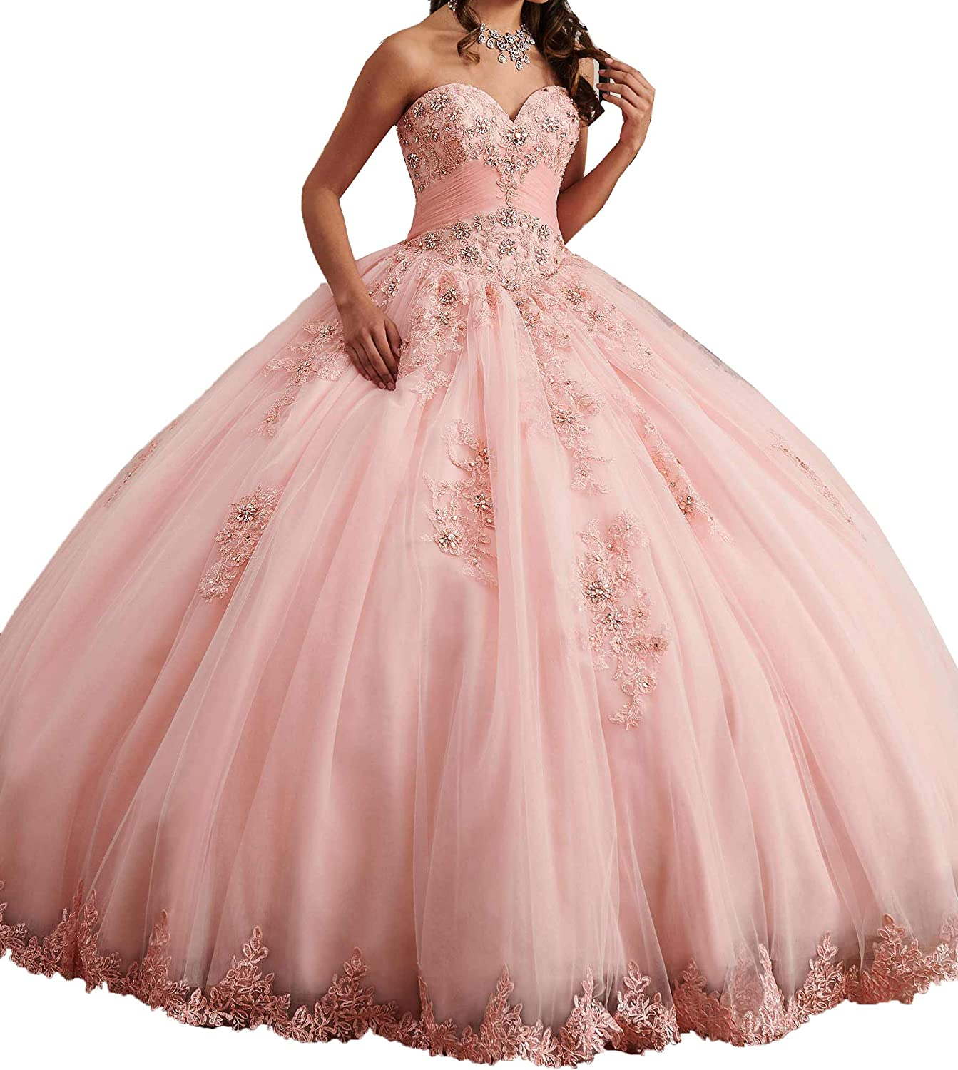 EieenDor Women's Sweet 16 Quinceanera Dresses Lace Appliques Beaded Princess Long Prom Ball Gowns Plus Size