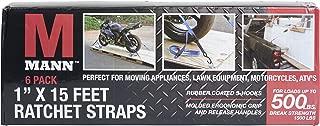 Mann Ratchet Tie Downs Straps 6-Pack with S-Hooks 1-Inch x 15-Feet 500 Lbs Load Cap - 1500 Lb Break Strength (Black)