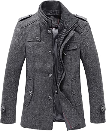 chouyatou Men's Winter Stylish Wool Blend Single Breasted Military Peacoat