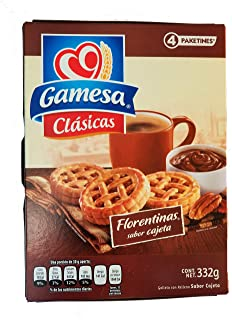 Gamesa Florentinas Cookies. Mexican Tart With Caramel Goat Milk Flavored Filling. 1 Box (4-count packages)