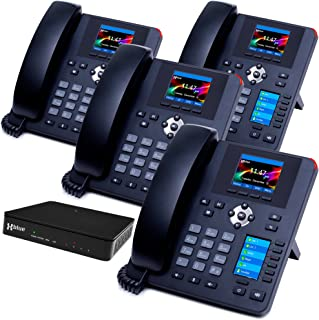 XBLUE QB System Bundle with 4 IP7g IP Phones Including Auto Attendant, Voicemail, Cell & Remote Phone Extensions & Call Recording