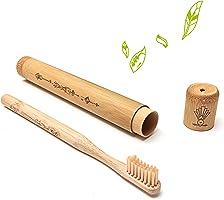 Nature Nerds – Reise-Zahnbürste für Erwachsene, Bambus-Etui inkl. Zahnbürste/Zahnbürsten-Hülle/Zahnbürsten-Halter/Reise-Etui