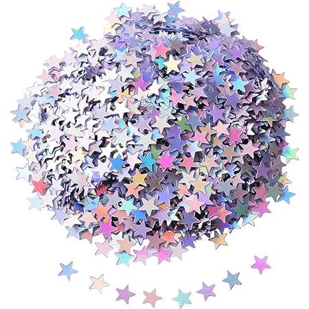 Shappy Confeti de Estrella Confeti de Mesa Lentejuelas de Estrellas para Materiales de Fiesta Boda, 45 Gramos, Plateado