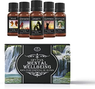 Mental Wellbeing | Essential Oil Blend Gift Starter Pack | Anxiety, Confidence, Happiness, Peace, Revitalise | 100% Pure Essential Oil Blends