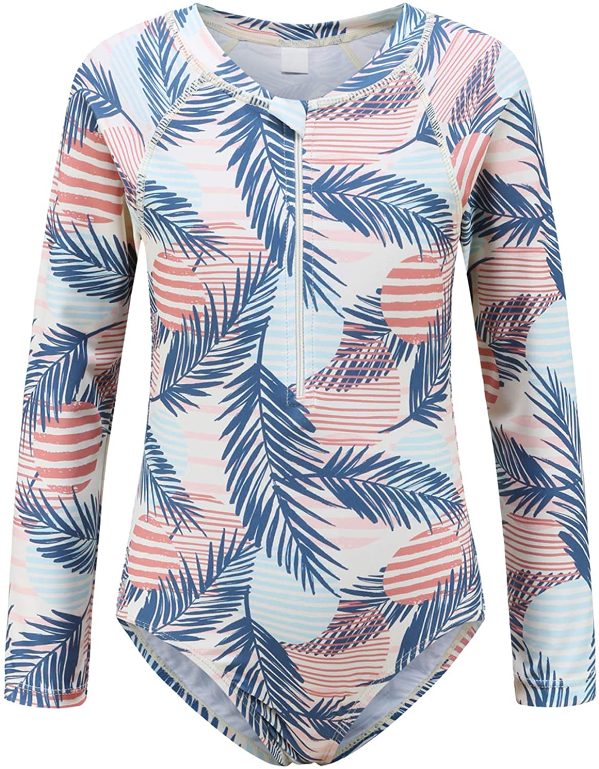 Girls Long Sleeve Rash Guard Swimsuits One Piece Bathing Suit for Kids UPF 50+ Sun Protection Swim Shirts for Surfing Palm Leaf Size 6