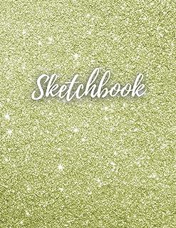 """Light Gold Glitter Sketchbook: 8.5""""X11"""" 100 Big Blank Page Unisex Light Gold Glitter Glossy Cover Sketchbook/Light Gold Sp..."""