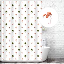 Traveling Twins Pink Flamingo & Palm Tree Shower Curtain Liner (100% Polyester Fabric, Waterproof and Mildew Resistant + Weighted Bottom) - 72 x 70 inches