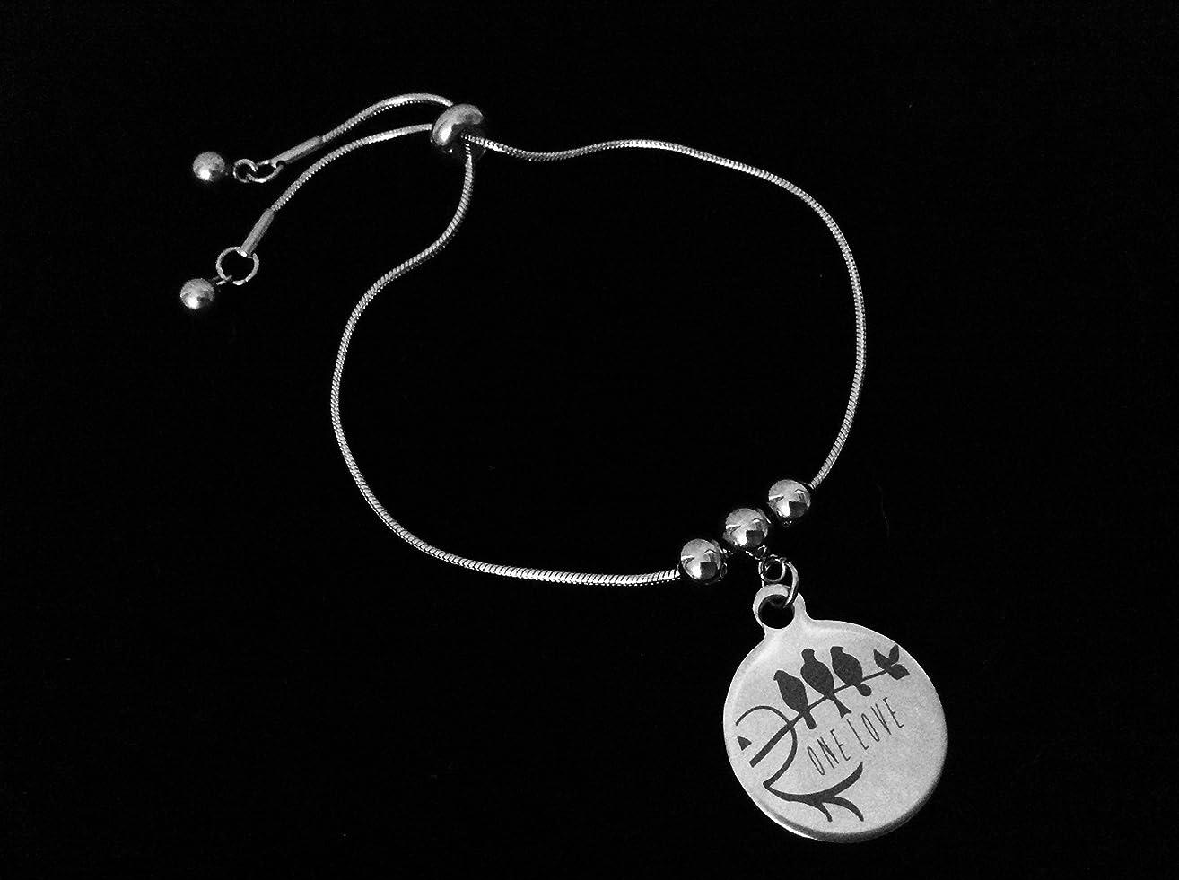 One Love 3 Little Birds Bolo Bracelet Stainless Steel Adjustable Bracelet Slider Charm Bracelet Gift One Size Fits All