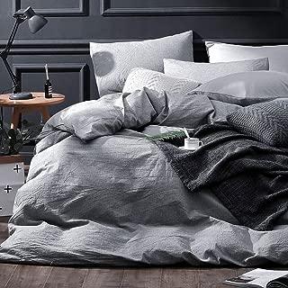 NTBAY 3 Pieces Duvet Cover Set Solid Color Combed Cotton Vintage Style with Hidden Zipper Design, Grey, Queen