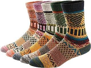 Ueither, Juego de 5 pares de calcetines altos de lana tejida con un estilo vintage, unisex, para el invierno y el otoño