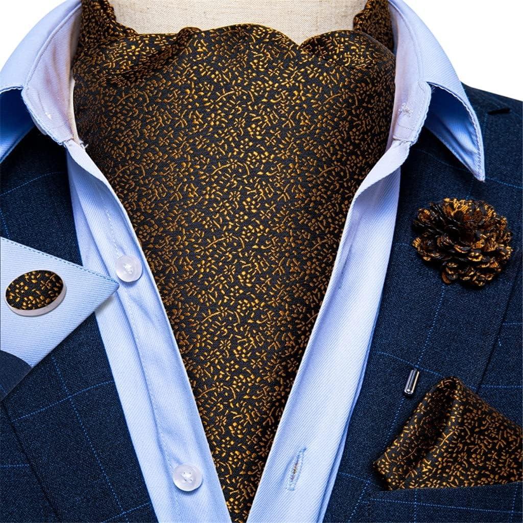 YTREI Men's Vintage Gold Floral Black Jacquard Woven Silk Tie Cravat Scrunch British Style Gentleman Necktie (Color : Black Jacquard, Size : One Size)