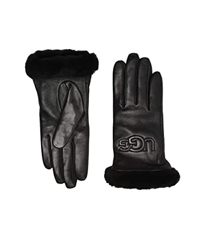UGG Classic Leather Logo Tech Gloves (Black) Extreme Cold Weather Gloves
