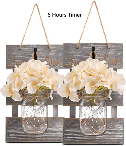 Rustic Grey Mason Jar Sconces for Home Decor, Decorative Chic Hanging Wall Decor Mason Jars with LED Strip Lights, 6-...