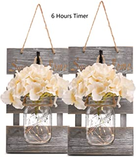 Rustic Grey Mason Jar Sconces for Home Decor, Decorative Chic Hanging Wall Decor Mason Jars with LED Strip Lights, 6-Hour Timer, Silk Hydrangea, Iron Hooks for Home & Kitchen Decorations [Set of 2]