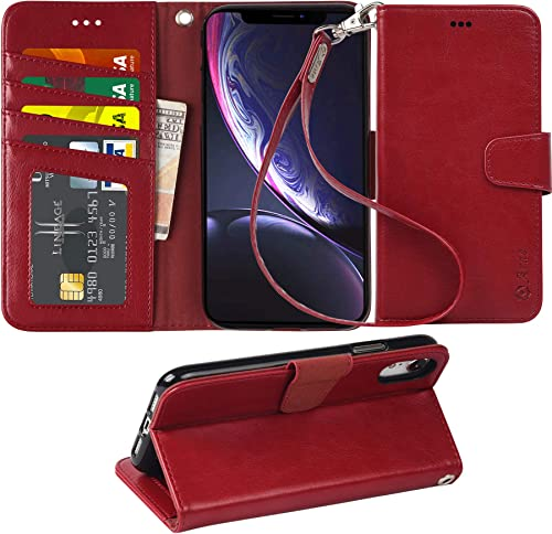 Arae Wallet Case for iPhone XR PU Leather flip case Cover [Stand Feature] with Wrist Strap and [4-Slots] ID&Credit Ca...