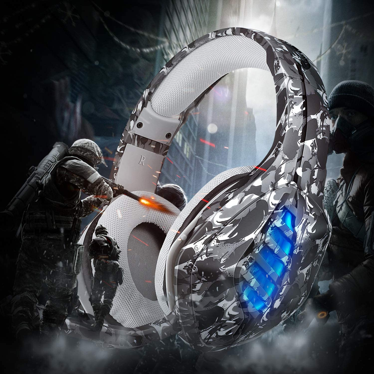 Black REDSTORM PS5 Gaming Headset with Adjustable Noise Cancelling Microphone Stereo Audio Bass with LED Light Compatible with PS5//Switch//Xbox One//PS4//PC