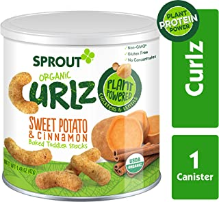Sprout Organic Curlz Toddler Snacks, Sweet Potato & Cinnamon, 1.48 Ounce (1 Count) Canister