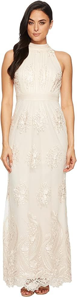 Adrianna Papell - Embroidered Halter Gown